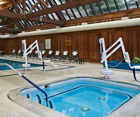 Indoor and outdoor swimming pools, jacuzzi hot tub and Riverwalk Fitness Center at the Heritage Resort, Passover 2016