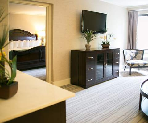Newly redesigner and totally reecorated spacious suites overlooking the golf course with designer toiletries at the Heritage Resort for Passover 2016